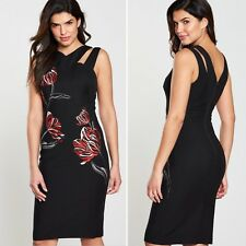 Karen Millen Black Floral Beaded Embroidered Pencil Dress UK Size 14