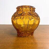 Vintage Amber Glass Lamp Shade Globe Fixture Scrolls Art Deco Mid Century Modern