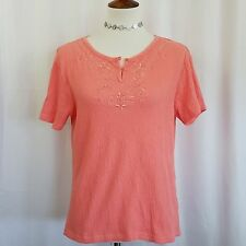 Erika Women's  Blouse Size M Short Sleeve Round Neck with Embroidery Pink