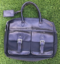 Polo Ralph Lauren Black Leather Nylon Briefcase Messenger Bag Laptop Attache EUC