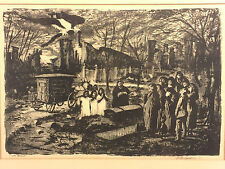 """Vintage Martin Jackson Nightscape Wood Print Lithograph """"The Burial"""" 1947"""