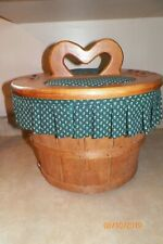 Vintage Round Wood Picnic Basket Woven Hearts Green Fabric