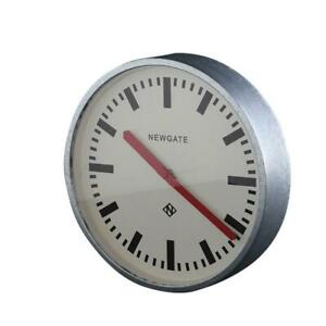 Luggage Wall Clock Galvanised Silver Metal Frame Red Hands 30 cm Mid-Century
