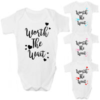 Worth The Wait Baby Grow - Cute Babies Rainbow Baby IVF Bodysuit Clothing