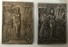 Pair Rene Lalique Bronze &  silver Plaque Chile 1910 Independence Anniversary