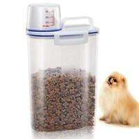 Pet Food Storage Container Airtight Dog Cat Foods Measuring Cup Clear Large 2.5L