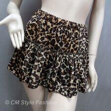 Safari Leopard Print Tiered Layering Mini Skirt Brown S