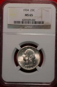 1934 Phildelphia Mint Silver Washington Quarter Graded MS 65 by NGC