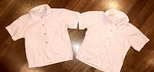 Flynn O'Hara School Uniform Girls Short Sleeve Peter Pan Collar Shirt Sz 12 Pink