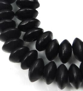 """8x4mm Black Wood Rondelle Abacus Beads 16"""""""