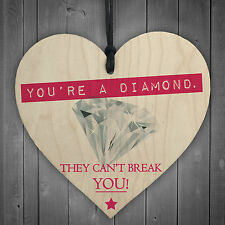 You're A Diamond Wooden Hanging Heart Plaque Friendship Gift Best Friend Plaques