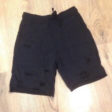 New Look Men Distressed Ripped Black Jersey Shorts Size XS