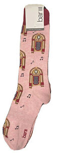 Bar III Mens Pink Printed Arch Support Crew Socks 10-13 shoe size 7-12 macy 1998