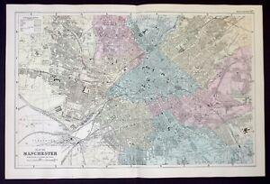 MANCHESTER CITY PLAN, original antique atlas map, RAILWAYS, Bacon, 1890