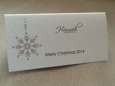 10 x Handmade Personalised Christmas Wedding Name Place Cards Snowflake Glitter