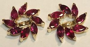 14K Yellow Gold 2.9 CTW Natural Ruby Earring Jackets