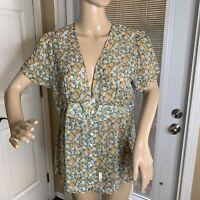 Sundance Womens Silk Sheer Blouse Top Shirt Prairie Button up Peplum Size 12