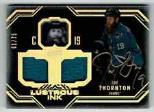 2016-17 UD BLACK LUSTROUS INK JOE THORNTON AUTO DUAL JERSEYS 1 COLOR 61/75 SAN