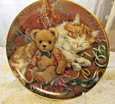 The Party's Over, Retired Franklin Mint Plate, Sue Willis, Teddy Bear, Cat