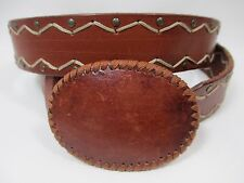 """Express Genuine Leather Belt Oval Buckle Brass Riveted Stitched Pattern 35-40"""""""