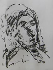 JOSE TRUJILLO MODERN EXPRESSIONISM ORIGINAL CHARCOAL DRAWING OLD WOMAN PORTRAIT