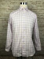 Charles Tyrwhitt Slim Fit Purple Gingham Mens Long Sleeve Button Front 15.5 / 33