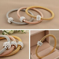 Luxury Rose Yellow Gold or Silver Mesh Shiny Sparkle Charm Bracelet Bangle