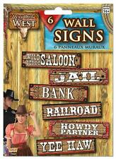 6 WAY OUT WEST COWBOY PARTY WALL SIGNS Western Party Decoration 75925