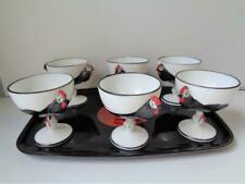 1950s Vintage Fenton ? Rooster Chicken Goblets Couroc Asian Tray BARWARE Glasses