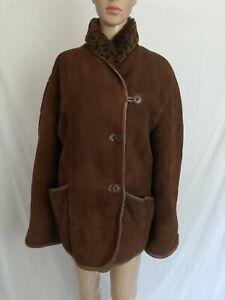 SHEARLING MONTONE SHEEPSKIN Cappotto di PELLE Giubbotto Jacket Tg 46 Donna