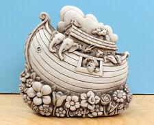 """Noah'S Ark Cast Stone 7.25"""" Wall Plaque Baby Room Indoor Outdoor Flower Garden"""