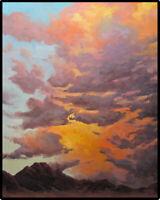 Jeff Love Art Original Oil Painting Landscape Colorful Sunset Sky Impressionism