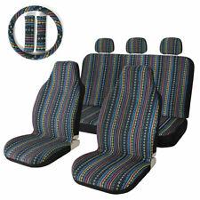 10pcs Car Seat Covers Dark Baja Stripe Saddle Blanket Universal for SUV Sedan