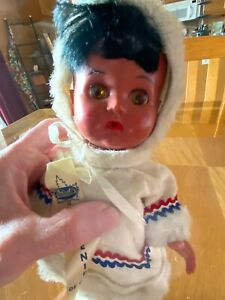"""Vintage 10"""" Hard Plastic Eskimo Doll Reliable Made In Canada With Souvenir Tag"""