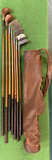 Antique hickory wood shaft Golf Clubs and Vintage all Leather Stovepipe Golf Bag