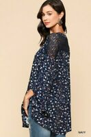 SML GIGIO by UMGEE NAVY or BLACK floral & Lace TUNIC/Blouse/Top BHCS