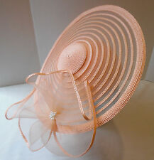 Kentucky Derby Church Hat Sylvia Designs 50's Wide Brim Woven Peach Vintage