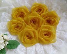 "1.5"" Golden Yellow Organza Ribbon Roses Flowers/ Appliques -Lots 24 Pcs(R0084Y)"
