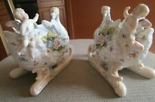 ANTIQUE PAIR GERMAN SWAN SLEIGH PUTTI CHERUBS APPLIED FLOWERS HAND PAINTED FIGUR