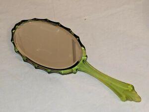 ANTIQUE VINTAGE ART DECO NOUVEAU GREEN HAND MIRROR Lucite Plastic