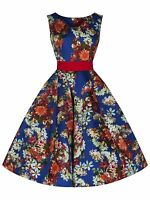 Classic 1950's Vintage Cobalt Floral Rockabilly Jive Swing Prom Dress New 8 - 18