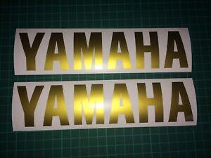 (X2) YAMAHA LOGO Stickers Decals Motorbike Tank Fairing 200x45mm GLOSS GOLD