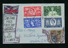 GB 1953 CORONATION FDC FIRST DAY COVER HAND DRAWN GOD SAVE THE QUEEN LONDON SW1