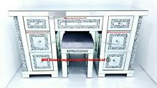 Mirrored Dressing Table 7 Drawers Sparkly Silver Diamond Crush Crystal w/ Stool