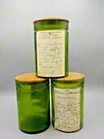 3 Apothecary Jars REPRODUCTION Prescription Labels Canisters Antique Appearance