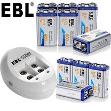 EBL Lot of 600mAh 9V Li-ion Rechargeable Batteries + 2 Slot 9 Volt NI-MH Charger