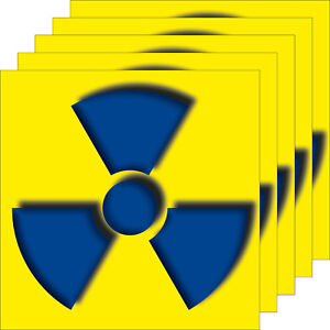 5 Aufkleber 10cm Sticker radioaktive Strahlung Warn Hinweis Zeichen Symbol xray