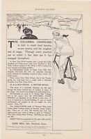 1890s/1900s VINTAGE MAGAZINE AD #B1-47 - COLUMBIA CHAINLESS BICYCLE - POPE