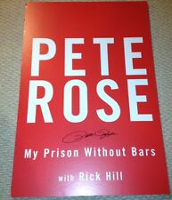 PETE ROSE SIGNED ON 24x36 BOOK COVER MY PRISON WITHOUT BARS W/COA ULTRA RARE
