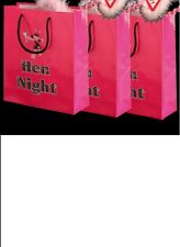 3 Hen Night Hot Pink Party Goodie Bags for Accessories Gifts & Party Packs